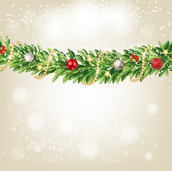 Fir Branches with Snow. Merry Christmas and New Year Winter Background. Vector Illustration
