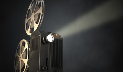 Retro movie projector on dark background. 3D rendered illustration.