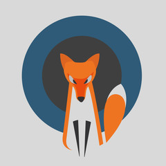 Vector Image of a Fox Design on a Grey Background with Blue and Dark Gray Rounds. Fox Is on Special Layer.
