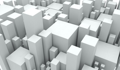 3D Rendering Of Abstract White Cubes Different Size