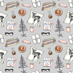 christmas home cozy collection. seamless pattern on gray background.watercolor hand painting sketch fashion accessories.