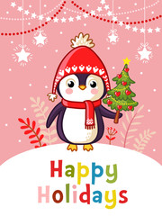 Christmas vector greeting card with cute penguin. Illustration with an animal on a Christmas theme.