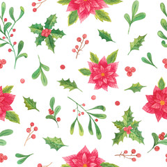 watercolor christmas plants. seamless pattern