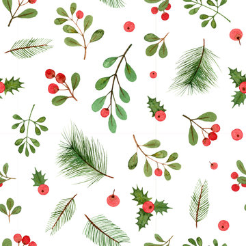 watercolor christmas plants and berries. seamless pattern on a white background.