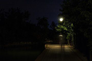Double exposure night scene of person walking dark street illuminated with streetlights. The receding male silhouettes on the road in the park. Human figure in motion blur going along the city river Fotomurales