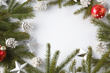 Pine branch on white background, christmas decotation