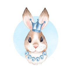 Rabbit and crown. Watercolor illustration 3. Isolated on white background