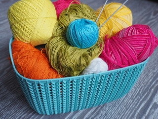 Yarn balls. Knitting as a kind of needlework.
