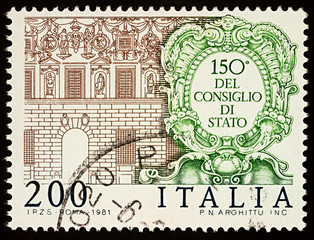 Spada Palace in Rome (Council of State) on postage stamp