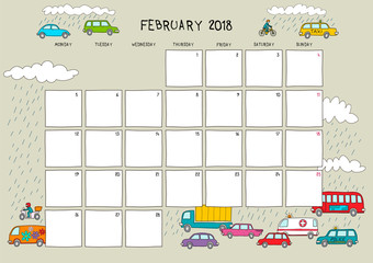 Cute calendar and planner for February 2018. Beige background with colorful illustrations of rain and cars. A4 horizontal format.
