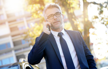 Businessman talking on phone standing outside the car