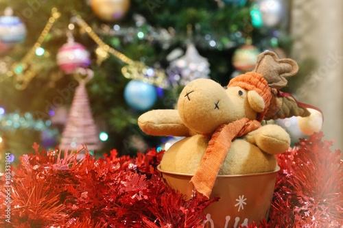 Christmas Decoration Seasons Greetings Closeup Blur Tree Background