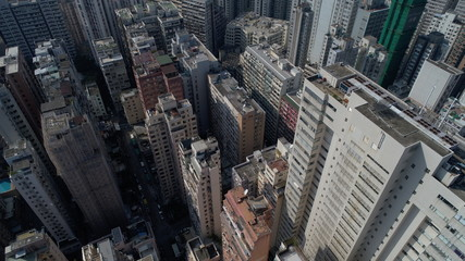 Drone HongKong 香港 building apartment busy money traffic house small high china speac