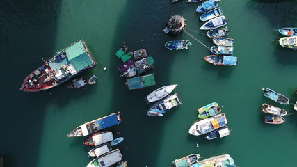 香港 HongKong 避風港 避風塘 boat small water harbor drone sky sun