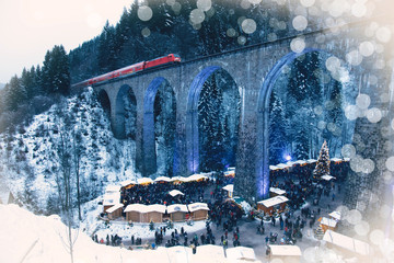 Traditional christmas market in the Ravenna gorge, Germany.