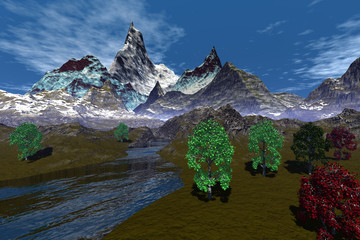Mountains, an alpine landscape, beautiful trees, river among the rocks and a blue sky.