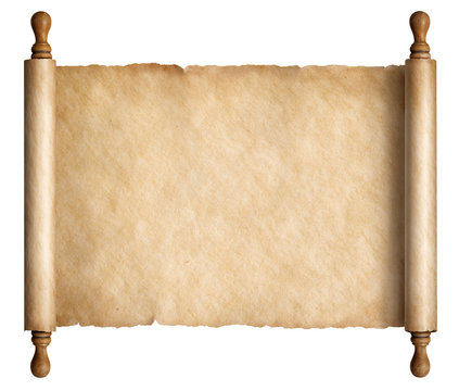 Old scroll parchment with wooden handles 3d illustration