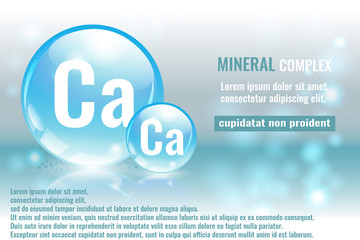 Mineral ca, calcium complex with chemical element symbol. Pharmaceutic, medical background with space for text.