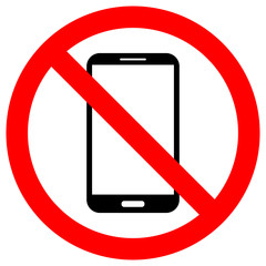 NO CELL PHONES USE crossed out sign. Smartphone icon in red circle.
