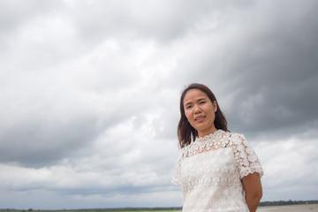 women asian in rice field