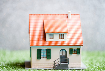 Photo of toy house on green grass