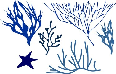 Set of silhouettes of stylized blue corals