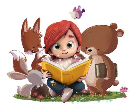 Niña leyendo un libro en el bosque con animales