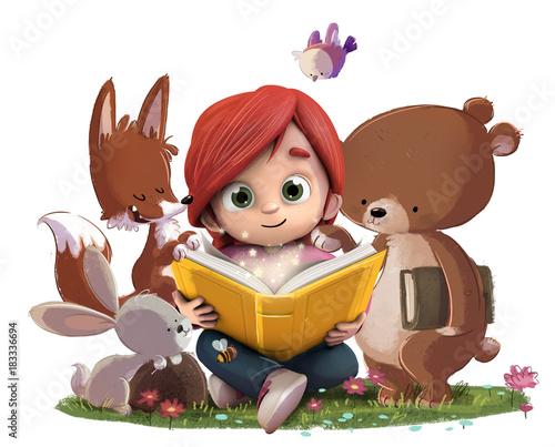 """""""Niña Leyendo Un Libro En El Bosque Con Animales"""" Stock"""