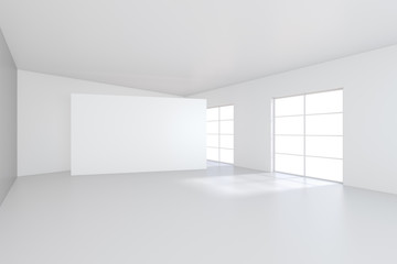 Large white billboard standing near a window in a white room. 3D rendering.