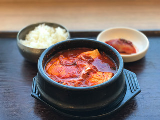 Traditional Korean food, kimchi soup in clay pot