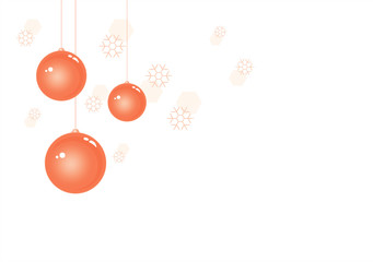 Orange Christmas balls isolated on White Winter background with snowflakes. Vector