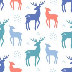 Scandinavian Deer Christmas hand drawn doodles seamless pattern