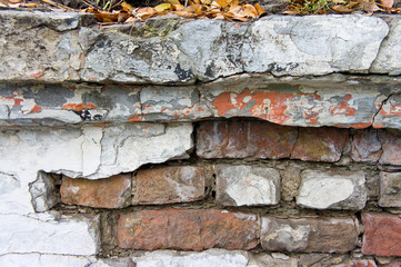 The texture of bricks and plasters, dilapidated and destroyed