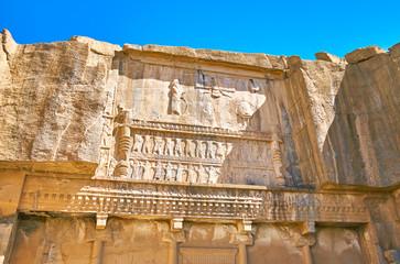 Reliefs on the rock, Persepolis, Iran