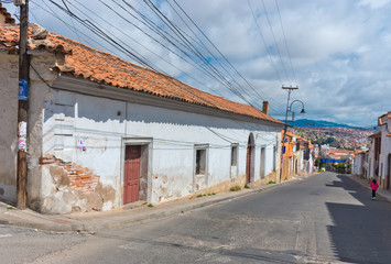 Street in Sucre, capital of Bolivia