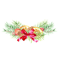 Watercolor hand drawn Christmas bouquet, fir branches with red bow, citrus and berries, isolated on white background. Winter holidays festive design.