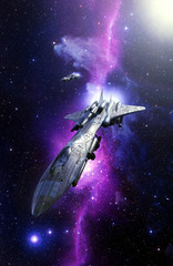 Wall Mural - fighter bomber spaceship and nebula starfield