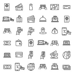 Simple set of online booking related outline icons.