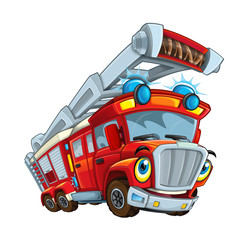Cartoon happy and funny cartoon fire fireman bus looking and smiling - illustration for children