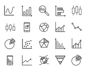 Simple collection of business data related line icons.