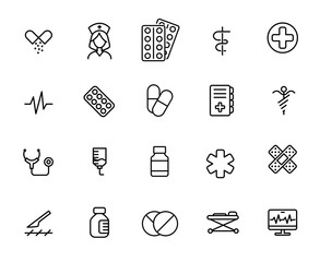 Simple collection of medical healthcare related line icons.