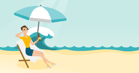 Young caucasian white woman sitting on a chaise-longue on the beach. Happy smiling woman relaxing on a chaise-longue and drinking beer. Vector cartoon illustration. Horizontal layout.