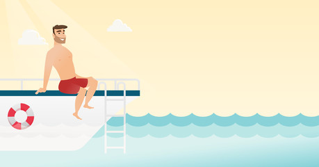 Young caucasian white man tanning on the front of the yacht. Happy man travelling by yacht. Man resting during summer trip on the yacht. Vector cartoon illustration. Horizontal layout.