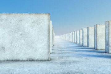 Abstract White Concrete Wall And Blue Sky in the background. Concept of Landscape and business. 3d illustration