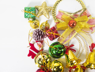 The christmas accessories o,small Santa clause,goft box,colorful bell ,ribbon,put on white background.