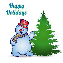 Cheerful snowman in hat and scarf and Christmas tree, cartoon on white background, vector
