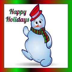 Cheerful christmas snowman in hat and scarf, in color gradient frame, cartoon on white background,