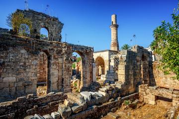 Historical Kesik Minaret Mosque in Kaleici, Antalya Old Town, Turkey