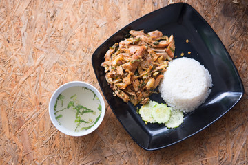 Grilled chicken spicy salad serve with cooking rice