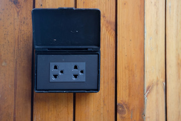 Black home electrical outlet
